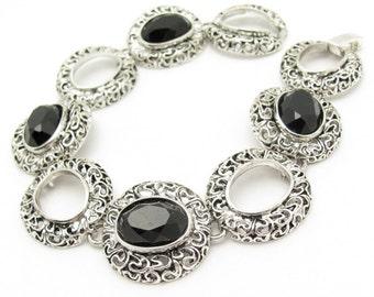 Black Link Bracelet, Vintage Bracelet, Black Rhinestone Oval Link, Ornate Antiqued Silvertone Hawaii Beads