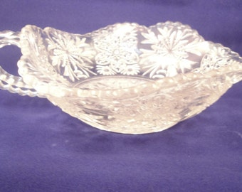 Vintage Nappy Clear Glass Handled