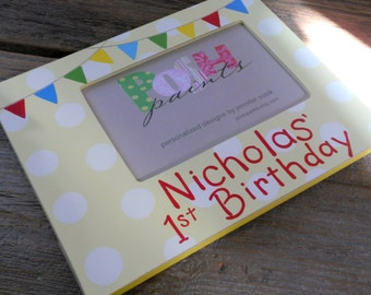 NEW birthday banner frame, hand painted 4x6 photo frame