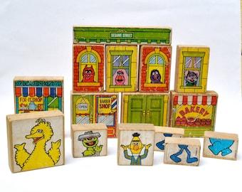 Vintage Sesame Street 1970s wood blocks Fix It shop bakery barber shop Muppets