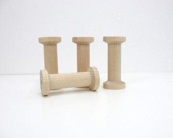 "Wooden spool 2.75"" tall set of 4, wood spools"
