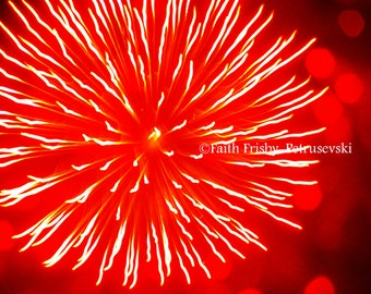 Red Giant Fireworks Fine Art 8x10 Photograph