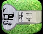 Phosphoric Green Mini Glitz Ladder Yarn Ice Bright Green w/ Silver Sparkle 31362
