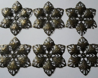 Antiqued Brass Filigree Star Flower Findings