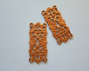 Vintage Copper Filigree Findings 30mm x 14mm - Lot Of 2 Rectangle Filigree Findings