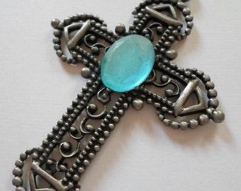 Vintage Filigree Cross Pendant Oxidized Silver Tudor Cross Pendant