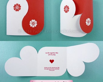 Yin Yang Valentine or Wedding Card (Hand cuttable and text editable PDF Files - no items will be shipped)