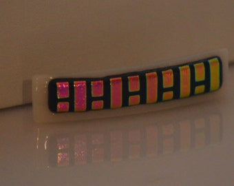Fused Glass Barrette, Multi-Colored Dichroic on White Glass SRAJD