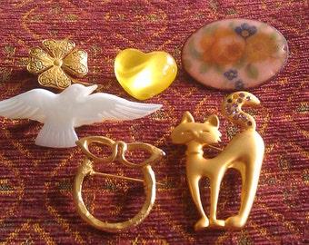 Reto Eclectic Brooch Mix cat brooch heart brooch bird brooch 4 leaf clover brooch floral