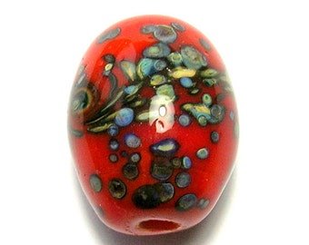 Orange Lampwork Glass Focal Bead - Handmade Lampwork Beads