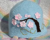 Cherry Blossoms Hat  --- size 12 month - 2 years