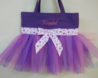 Ballet bag, Embroidered Dance Bag, Tutu Tote Bag, Personalized tote bag, tutu bags, tutu dance bag, flowergirls tote, TB879 B PT