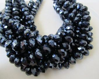 Midnight Blue Black Metallic Coated Crystal Faceted Rondelles Full Strand