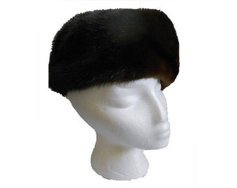 Vintage Mink Fur Hat  Dark Mahogany Brown Pill Box t Style Jean Guy Haute Mode