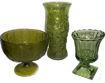 Lot of 3  Vintage Avacado dark Lime Olive Green   Glass Bowl Planters  and Tall Vase