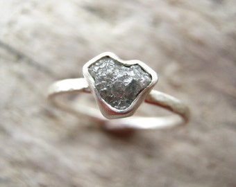 Small Heart Rough Diamond Ring -Custom- Unique Valentines Engagement, Hand hammered band, Sterling Silver - NEW DIAMONDS ADDED!