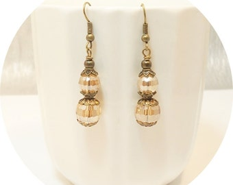 Champagne, Earrings, Dangle Earrings, Golden Earrings, Apricot, Pale Yellow,  Bridesmaid Gift, Bridal Accessories, Rustic Wedding, Autumn