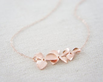 rose gold orchid necklace - triple cascading orchid, bridal, wedding, gift, layered necklace