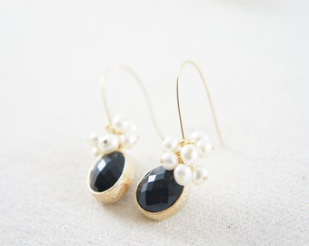 black gem and freshwater pearls dangling earrings, wedding, bridesmaid, gift, party, special occasion