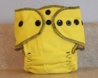 Fitted Preemie Newborn Cloth Diaper- 4 to 9 pounds- Yellow with Black Accents- 16041