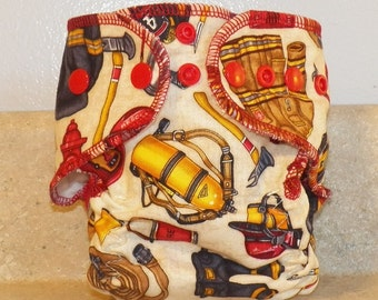 Fitted Preemie Newborn Cloth Diaper- 4 to 9 pounds- Firefighter- 16057