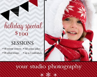 Instant Download - Photoshop PSD layered Templates for Photographers - Marketing Board - Holiday Mini Sessions - Holiday Red