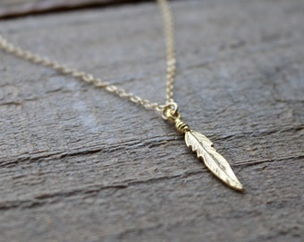 Tiny Gold Feather Necklace, Feather Pendant, Gold Vermeil Feather, 14k Gold Filled Chain