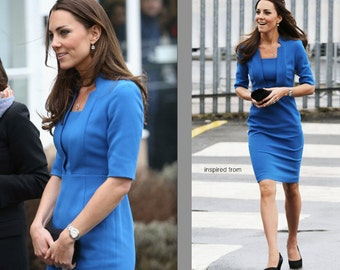 kate middleton notch collar pencil rockabilly celeb inspired dress custom made