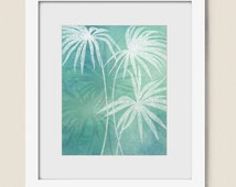 8 x 10 Palm Tree Art Print for Beach House, Tropical Artwork Home Wall Decor  (301)