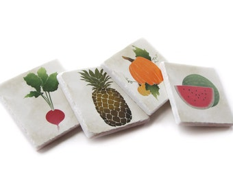 Fruit and Vegetable Wall Art,  Kitchen Wall Decor, Hanging Decorative Tile