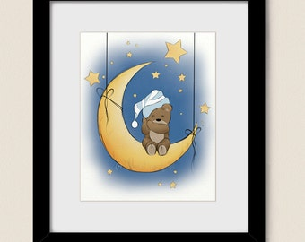 Moon and Stars Babys Room Decor, 8 x 10 Teddy Bear Childrens Wall Art Print, Blue Boys Room Decor  (273)