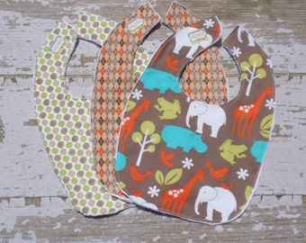 The Couture Mama Bib Set , Medium Size, Baby Boy, Set of Three