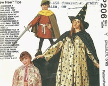Uncut, Child Size 2-12, Sewing Pattern, McCalls Costume, 206, Easy 2 Hours, Magician, Witch, Little Red Riding Hood, Grim Reaper, Princess