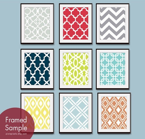 Modern Pattern Prints (Series B) Set of 9 - Art Prints (Featured in Assorted Colors)