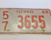 Iowa 1968 License Plate White And Orange