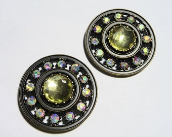 2 Huge Rhinestone and Brass Buttons on Etsy