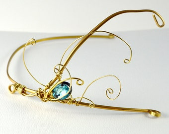 Gold Brass Swirly Asymmetrical Tiara Headband- 20's style modern fantasy