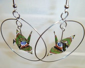 Geometric Crane-in-a-Hoop earrings ~ green with blue colorful recycled-upcycled-repurposed paper #e603 Marlisa origami