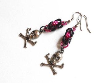 Skull and crossbones earrings, Pink skull earrings, Gothic earrings, Skull earrings, Pirate earrings, Halloween earrings, Pirate jewelry