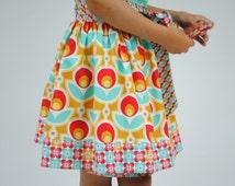 Girl's Wrap Skirt, Twirly Skirt, Toddler Wrap Skirt, Girl Skirts, Children Clothing, Red, Yellow, size 2T, 3T, 4, 5, 6, 7, 8