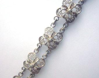 Vintage Silver Cannetille Filigree Bracelet
