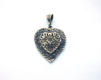 Vintage Sterling Silver Heart Pendant Silver Filigree