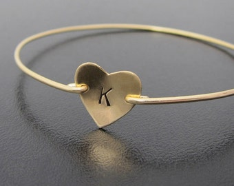 Personalized Heart Initial Bracelet, Initial Heart Bracelet, Monogram Heart Charm Bracelet, Stamped Heart Jewelry, Valentine Jewelry