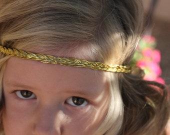 Gold Braided Headband  Metallic Yellow Gold headband boho headband