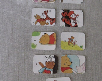 winnie the pooh hang tags from a vintage book pages; set of 9 winnie the pooh gift tags