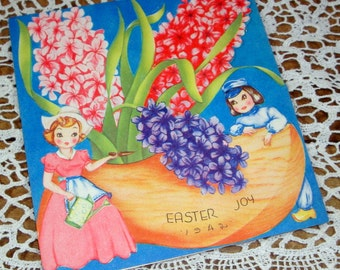 Vintage Easter Card, Dutch Wood Shoe, Boy and Girl, Hyacinth, Colorful, 1940's Greeting Card, Flowers, Floral Holiday Card, 1942   (80-14)