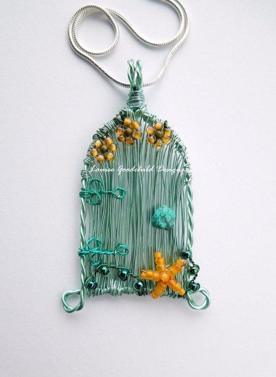 Seashore Fairy Door unique designer wire pendant