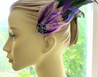 Purple and Amethyst Tribal Feather Fascinator, Steampunk Hair Clip, Hair Accessory, Halloween Costume