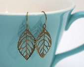 Bronze Leaf Earrings- Small Antique Bronze Leaf