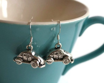 Slug Bug Earrings- VW Beetle Charm Earrings- Silver or Bronze- Choose Your Color- Retro Volkswagen